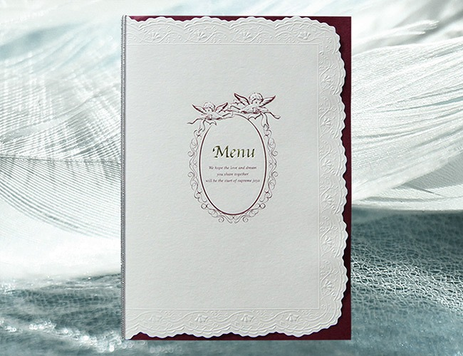 結婚式メニュー表-エルドール(レッド) 手作りメニュー表