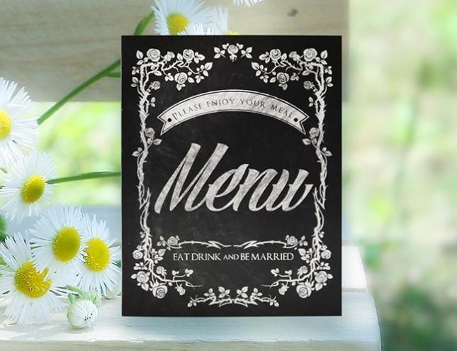結婚式メニュー表-黒板アート 手作りメニュー表