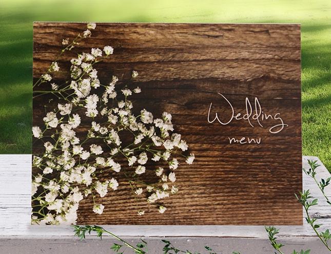 結婚式メニュー表-かすみ草 手作りメニュー表