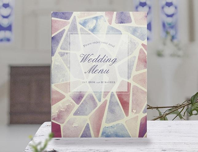 結婚式メニュー表-ステンドグラス 手作りメニュー表