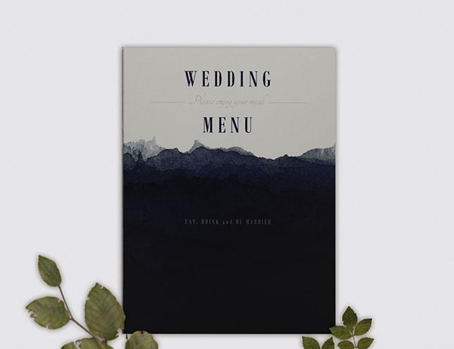 結婚式メニュー表-ネイビーブルー 手作りメニュー表