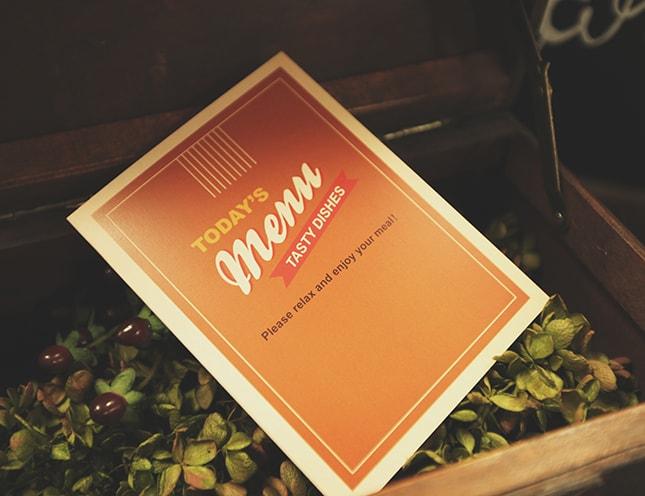 結婚式メニュー表-オールディーブライズオレンジ 手作りメニュー表