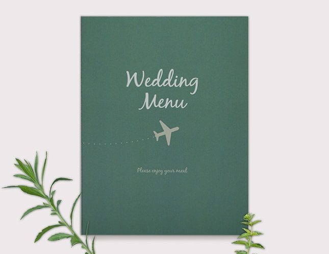 結婚式メニュー表-飛行機 手作りメニュー表