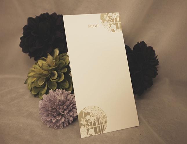 結婚式メニュー表-木洩れ陽(こもれび)和風 手作りメニュー表